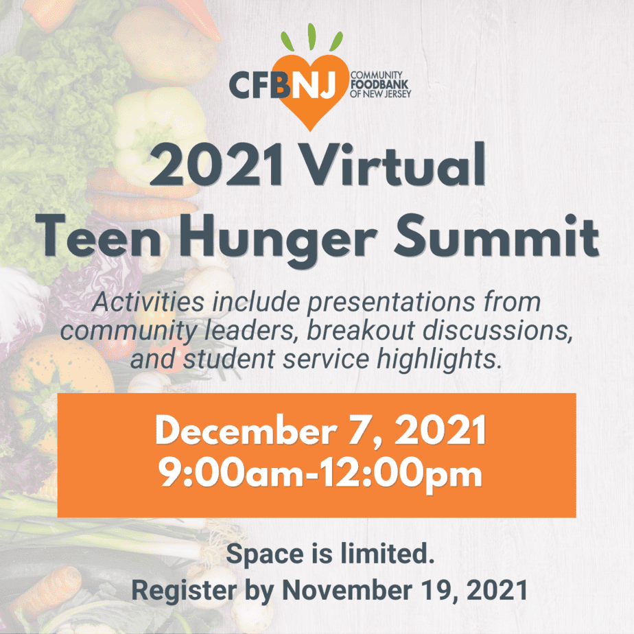 Graphic with Teen Hunger Summit details on it
