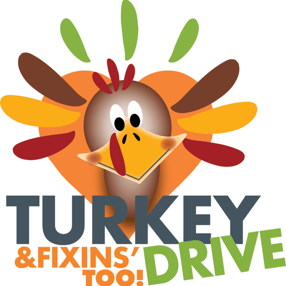 Cartoon turkey in a palette of orange and brown with text that says Turkey Drive & Fixins Too