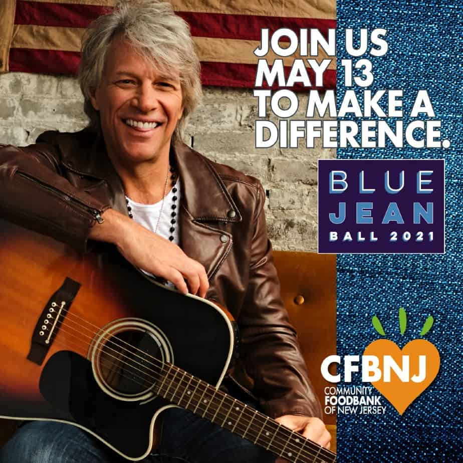 Blue Jean Ball event banner with Jon Bon Jovi sitting with a guitar