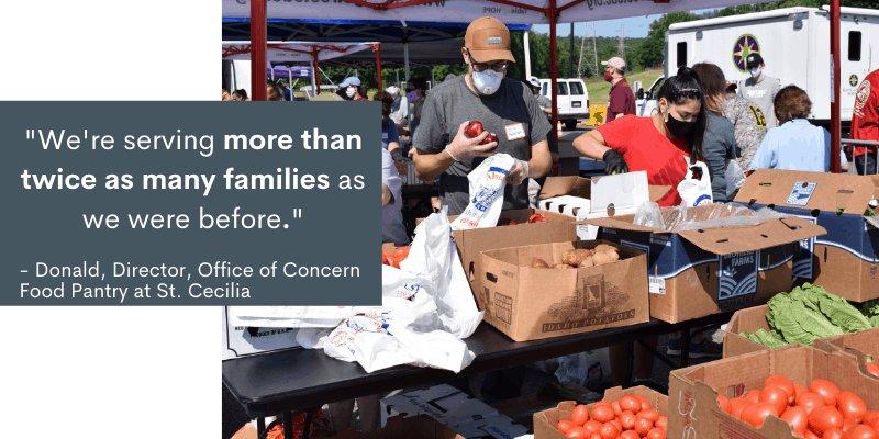 Volunteers at farm market getting food