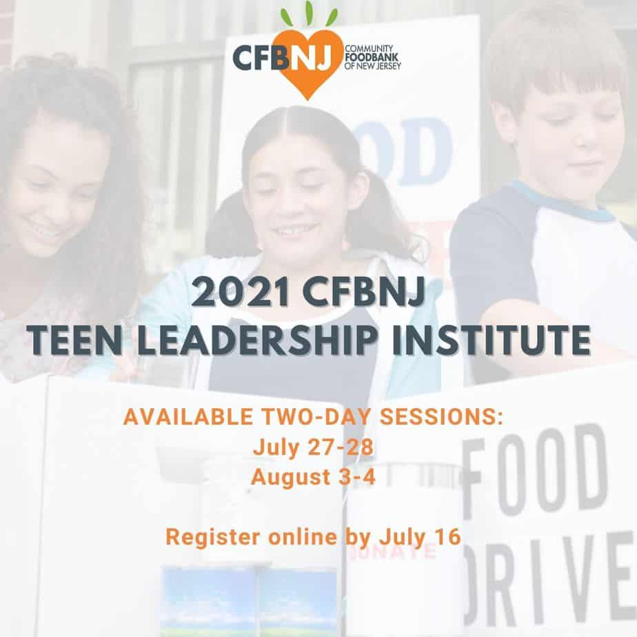 Website header with session dates for CFBNJ Teen Leadership Program