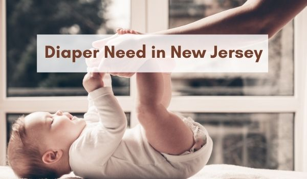 """Baby on changing table with """"Diaper Need in New Jersey"""" in brown text overlay"""
