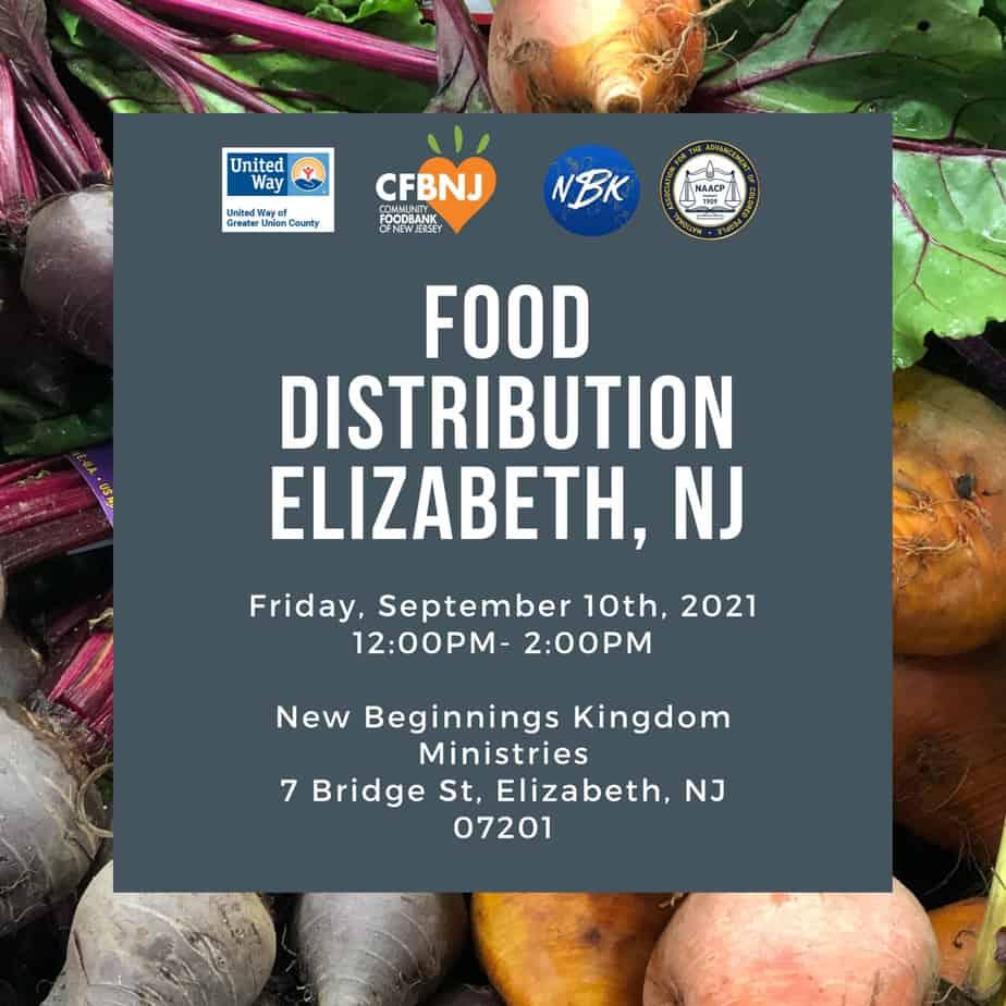 Food Distribution Elizabeth NJ 12PM - 2PM